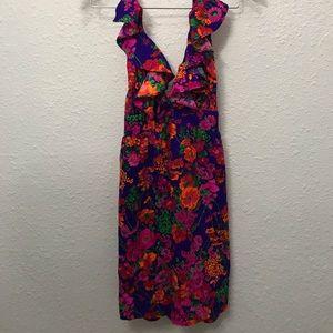 Dresses & Skirts - Vintage 70s neon psychedelic floral halter dress